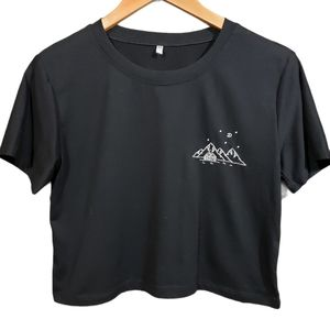 Embroidered mountain scene crop top
